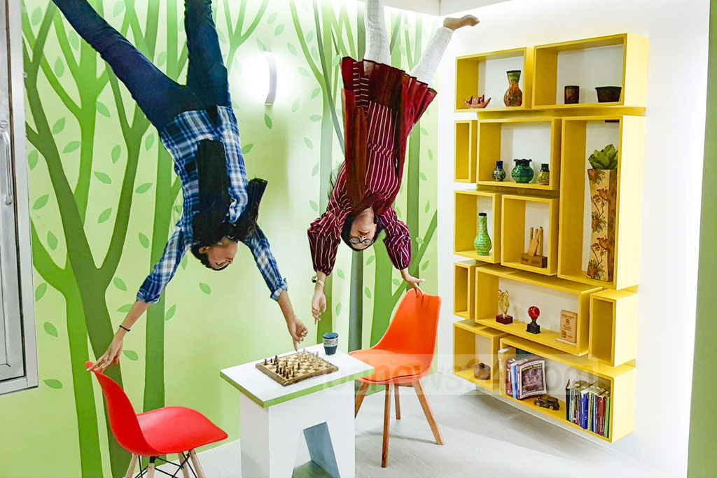 A museum called Upside Down BD has been launched with everything upside down - a house, an office with real objects, and more - to give the visitors a new experience of optical illusion. The museum at Lalmatia's Block C in Dhaka, said to be the first of its kind in Bangladesh, is open from 2pm-10pm every day from Tuesday to Saturday. This photo was taken on Wednesday. Photo: Abdullah Al Momin