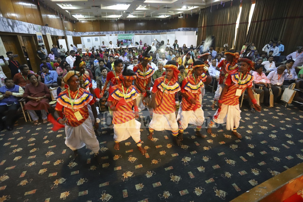 Members of the Dalit community performing a dance sequence at the opening session of a national conference on rights of marginal communities in Dhaka on Thursday. Photo: Asif Mahmud Ove