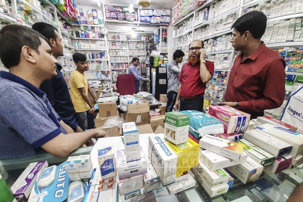 Taz Pharma on Green Road in Dhaka was fined Tk 150,000 for storing expired drugs during a drive by the Directorate General of Drug Administration and the Rapid Action Battalion on Thursday. Photo: Abdullah Al Momin