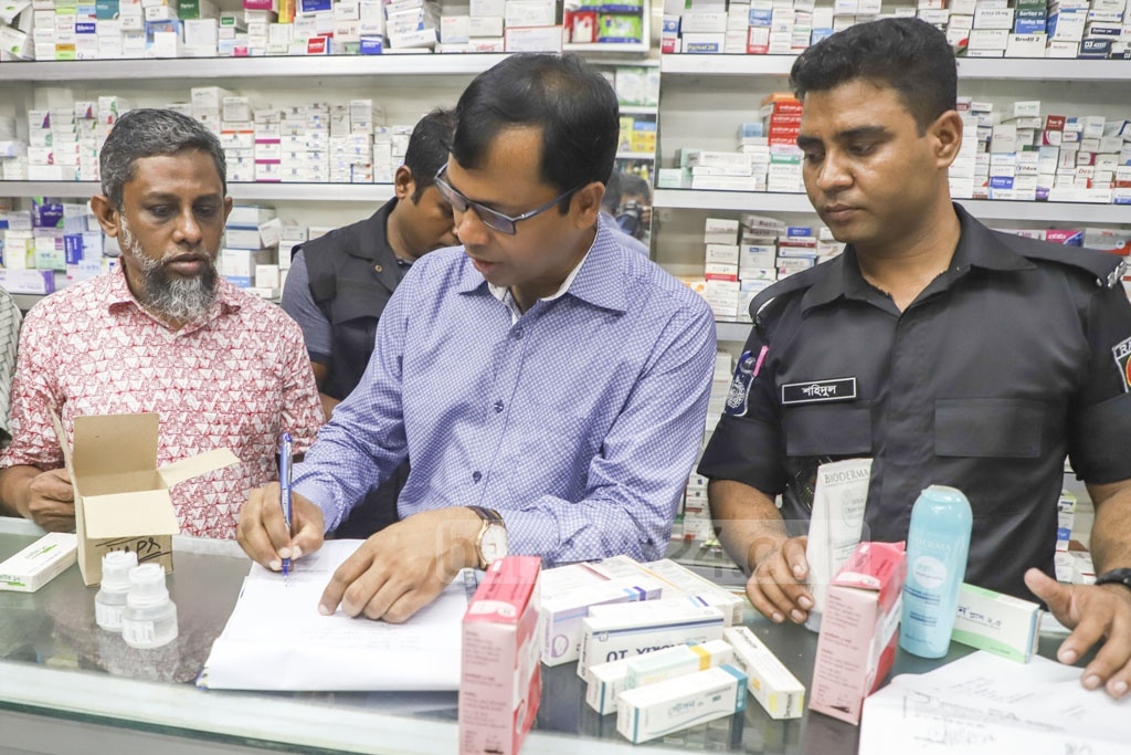 Safe Pharma on Green Road in Dhaka was fined Tk 250,000 for storing expired drugs during a drive by the Directorate General of Drug Administration and the Rapid Action Battalion on Thursday. Photo: Abdullah Al Momin