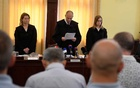 People smugglers responsible for the deaths of 71 men, women and children whose decomposing bodies were found crammed inside a truck dumped on an Austrian motorway in August 2015, listen to judge Erik Mezolakias he announces the final verdict and reasoning in a court in Szeged, Hungary Jun 20, 2019. REUTERS