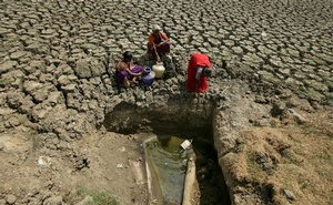 FILE PHOTO: Women fetch water from an opening made by residents at a dried-up lake in Chennai, India, Jun 11, 2019. REUTERS