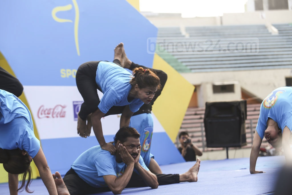 Trained yogis participate in a session at the International Yoga Day celebrations. Photo: Mahmud Zaman Ovi