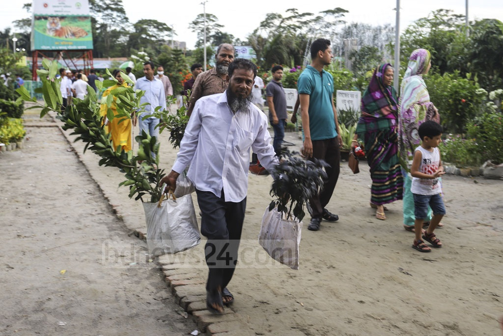 The month-long National Tree Fair at Dhaka's Sher-e-Bangla Nagar will continue until July 20. This photo was taken on Friday. Photo: Asif Mahmud Ove