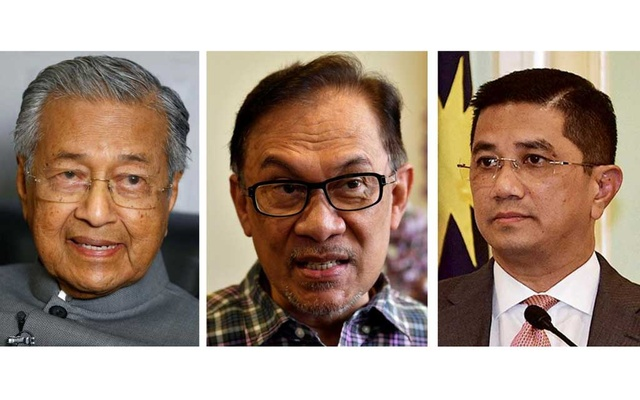 A combination photo shows Malaysia's Prime Minister Mahathir Mohamad (L-R), politician Anwar Ibrahim and Minister of Economic Affairs Azmin Ali in Malaysia on Mar 28, 2019, May 17, 2018 and Sep 5, 2018. REUTERS