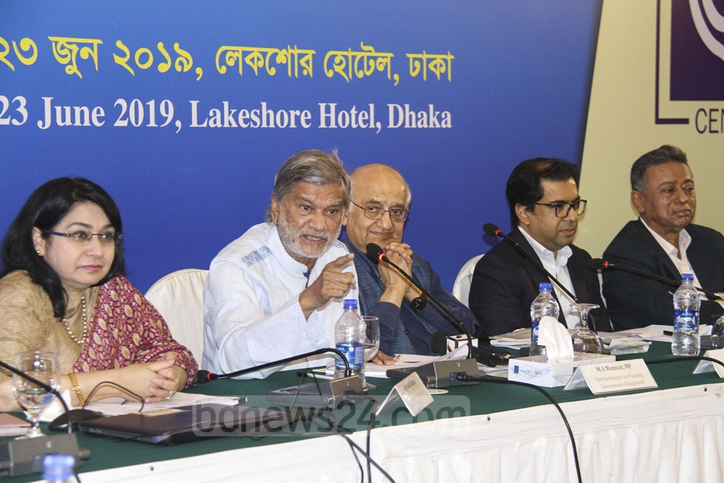 Planning Minister MA Mannan speaking at a dialogue organised by the Centre for Policy Dialogue on the proposed budget for 2019-20 at a Dhaka hotel on Sunday.