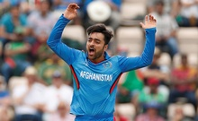 Cricket - ICC Cricket World Cup - Bangladesh v Afghanistan - The Ageas Bowl, Southampton, Britain - June 24, 2019 Afghanistan's Rashid Khan reacts Action Images via Reuters