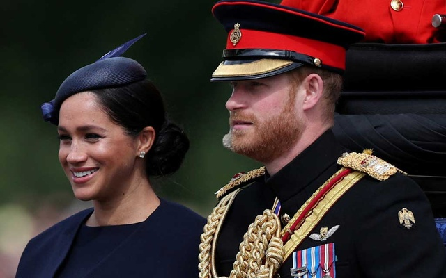 Britain's Prince Harry and Meghan, Duchess of Sussex take part in the Trooping the Colour parade in central London, Britain Jun 8, 2019. REUTERS