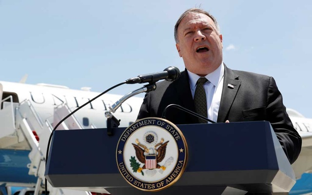 Mike Pompeo: US Secretary of State Mike Pompeo speaks to the media at Joint Base Andrews, Maryland, US Jun 23, 2019, before boarding a plane headed to Jeddah, Saudi Arabia. Jacquelyn Martin/Pool via REUTERS