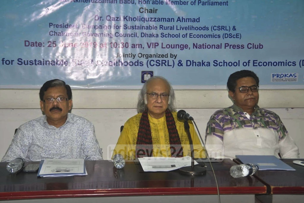 Economist Qazi Kholiquzzaman Ahmad speaking at a discussion on the proposed budget for fiscal 2019-20 co-organised by the Campaign for Sustainable Rural Livelihoods (CSRL) and Dhaka School of Economics at the National Press Club in Dhaka on Tuesday.