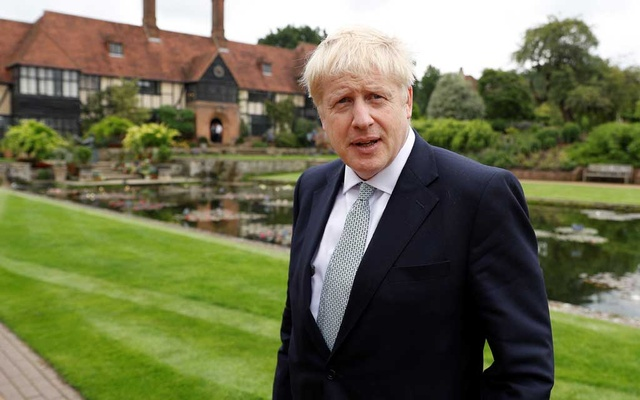 Boris Johnson, a leadership candidate for Britain's Conservative Party, looks on during his visit at Wisley Garden Centre in Surrey. REUTERS