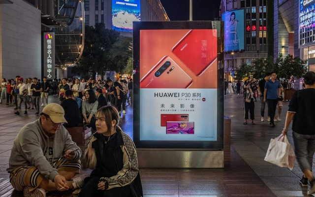 A Huawei billboard at a shopping street in Shanghai, China, May 28, 2019. The New York Times.
