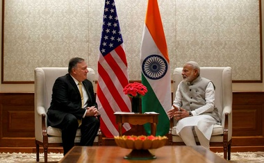 US Secretary of State Mike Pompeo, left, talks with Indian Prime Minister Narendra Modi during their meeting at the Prime Minister's Residence, Wednesday, Jun 26, 2019, in New Delhi, India. Jacquelyn Martin/Pool via REUTERS