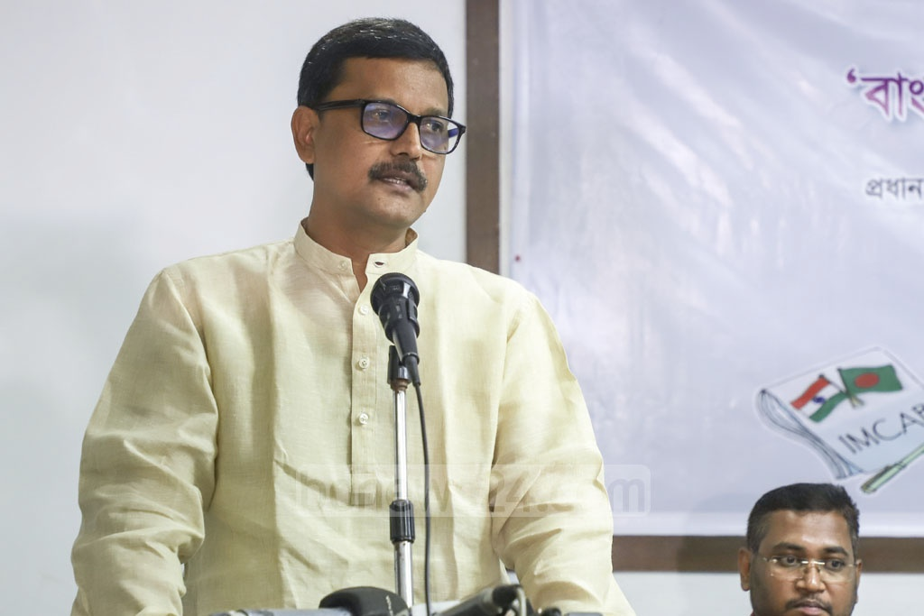 State Minister for Shipping Khalid Mahmud Chowdhury speaking at a dialogue organised by Indian Media Correspondents Association, Bangladesh or IMCAB at the National Press Club in Dhaka on Thursday on possibilities in India-Bangladesh shipping cooperation. Photo: Abdullah Al Momin