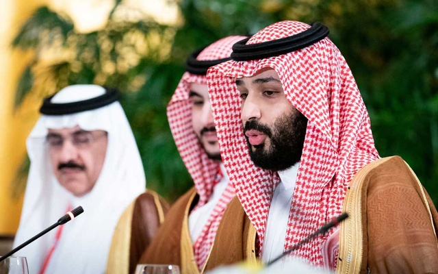 Crown Prince Mohammad Bin Salman of Saudi Arabia speaks during a working breakfast with an American delegation led by President Donald Trump, on day two of the G-20 Summit in Osaka, Japan, June 29, 2019. The New York Times