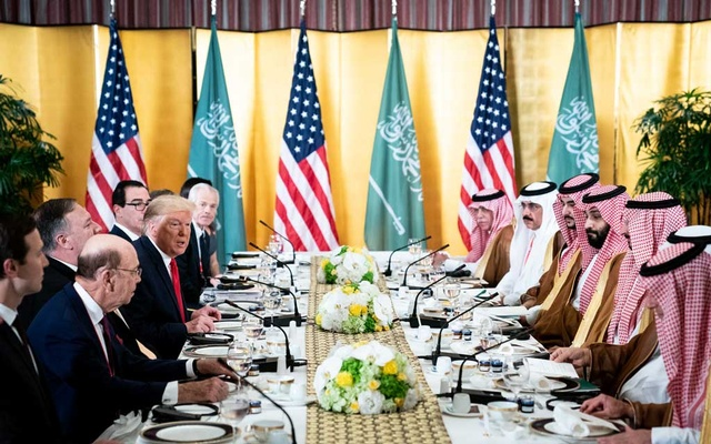 President Donald Trump and an American delegation have a working breakfast with a Saudi delegation led by Crown Prince Mohammad Bin Salman, on day two of the G-20 Summit in Osaka, Japan, Jun 29, 2019. The New York Times