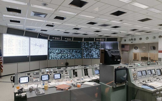 The newly-renovated mission control center at NASA's Johnson Space CentrE in Webster, Texas, Jun 28, 2019. The New York Times