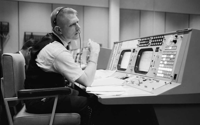 In a photo provided by JSC/NASA, Eugene F Kranz, flight director, in the control room during the Gemini program, preparing for a four-day flight, in Houston, May 30, 1965. The New York Times