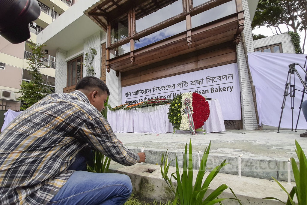 People from all walks of life pay respects to the victims of the Gulshan cafe carnage, three years after the terrorist attack on Monday. Photo: Abdullah Al Momin