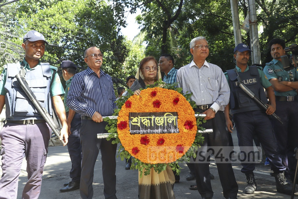 A BNP delegation led by party leader Selima Rahman pays respects to the Gulshan cafe attack victims on its third anniversary on Monday. Photo: Abdullah Al Momin