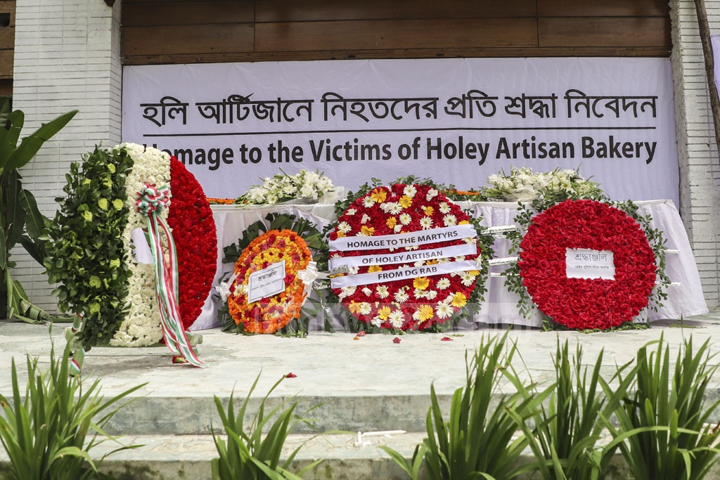 The site of the Holey Artisan Bakery restaurant, where 22 people, including 17 foreigners, were killed in a terrorist attack three years ago was open to visitors on Monday. Photo: Abdullah Al Momin