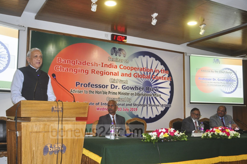 Prime Minister's International Affairs Adviser Gowher Rizvi speaking at a seminar on Bangladesh-India cooperation in the changing regional and global context in Dhaka on Wednesday.