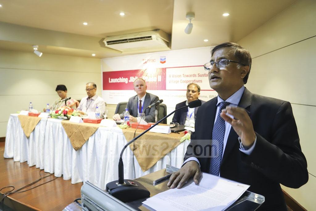 Energy and Mineral Resources Division Additional Secretary Muhammed Ahsanul Jabbar speaks at the inauguration of the second phase of a three-year project called Jibika initiated jointly by BRAC and Chevron, in Dhaka on Thursday. Photo: Asif Mahmud Ove
