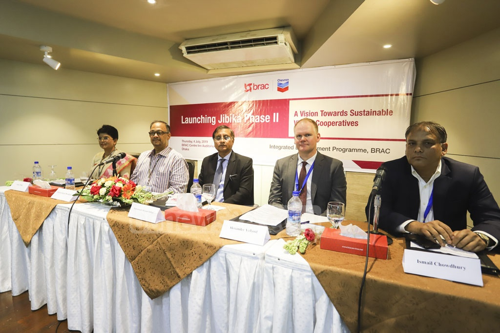 Speakers at the inauguration of the second phase of a three-year project called Jibika initiated jointly by BRAC and Chevron to ensure socioeconomical development for the society's disadvantaged population, in Dhaka on Thursday. Photo: Asif Mahmud Ove
