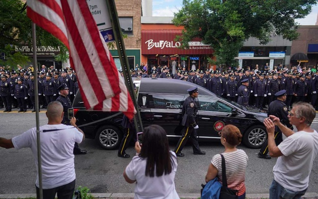 The funeral for Luis Alvarez, a former New York detective who became a champion of the emergency workers who had responded to the Sep 11, 2001, terrorist attacks, outside the Immaculate Conception Church in New York, Jul 3, 2019. Alvarez died just weeks after he gave an emotional plea to lawmakers at a Congressional hearing on replenishing the Sep 11th Victim Compensation Fund. The New York Times