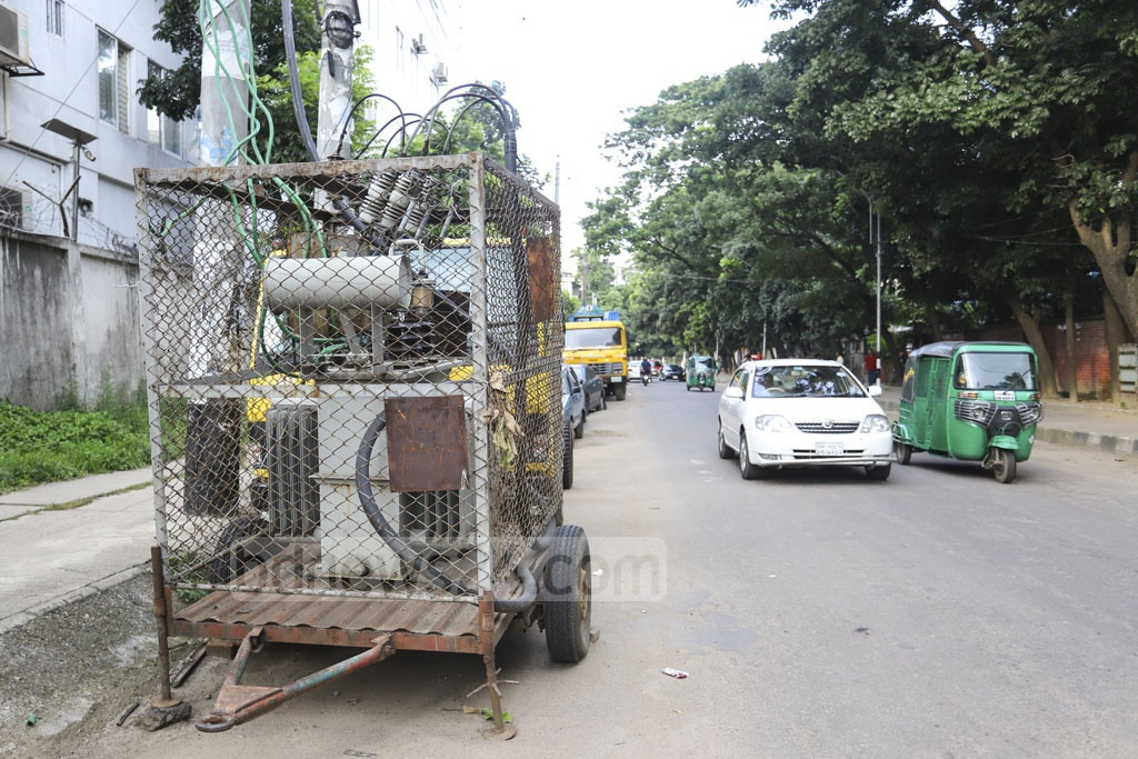 An electricity transformer is set up on Minto Road, Dhaka's VIP area. Asif Mahmud Ove