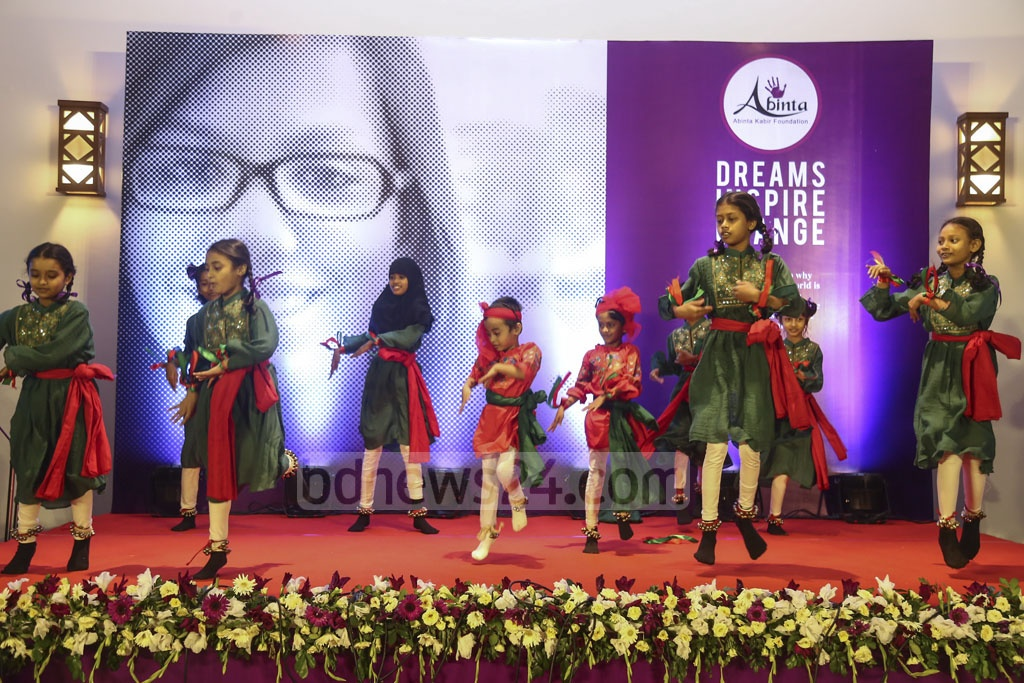 Students of the Abinta Kabir Foundation School attend a cultural show to mark the school's second anniversary on Saturday. Photo: Mahmud Zaman Ovi