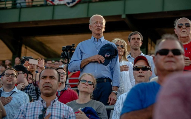 Former Vice President Joe Biden, Jill Biden and Beto O'Rourke attend an the Iowa Cubs baseball game in Des Moines, Iowa, Jul 4, 2019. After weeks of facing sharp criticisms over his decades-long history on issues including busing and civil rights, Biden is expected on Saturday to give the most forceful defence yet of his record, with an emphasis on his time as vice president to Barack Obama, the country's first black president. The New York Times