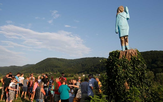 Life-size wooden sculpture of US first lady Melania Trump is officially unveiled in Rozno, near her hometown of Sevnica, Slovenia, July 5, 2019. Reuters