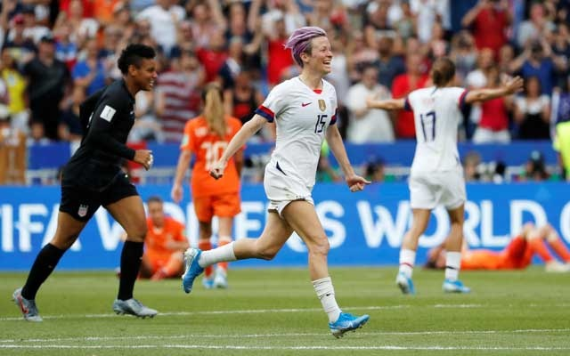 Football - Women's World Cup Final - United States v Netherlands - Groupama Stadium, Lyon, France - July 7, 2019 Megan Rapinoe of the US celebrates winning the women's world cup. Reuters