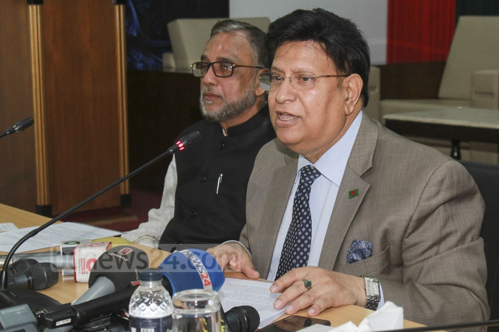 Foreign Minister AK Abdul Momen briefs the media on the Global Commission on Adaptation or GCA at his office in Dhaka on Monday. Photo: Abdullah Al Momin