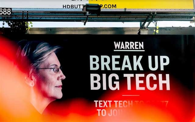 An Elizabeth Warren presidential campaign billboard hangs in the SOMA District of San Francisco, May 31, 2019. The New York Times