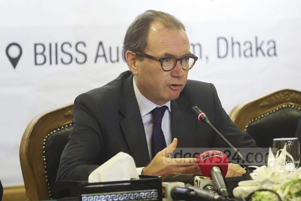 British High Commissioner in Dhaka Robert Dickson speaking at an interaction with journalists organised by the Diplomatic Correspondents Association, Bangladesh, DCAB, at BIISS auditorium in Dhaka on Monday. Photo: Abdullah Al Momin