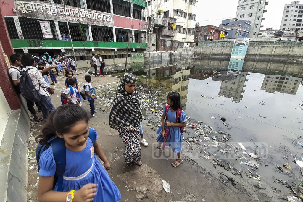The playground of Muradpur Adarsha High School at Dhaka's Shyampur goes underwater in every rainy season, depriving the students of sports. Photo: Abdullah Al Momin