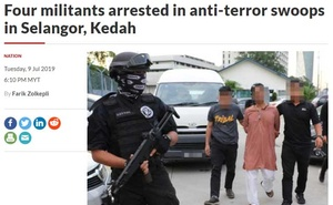 A screenshot of Malaysia's The Star Online story on the detention of four foreigners for militant links.