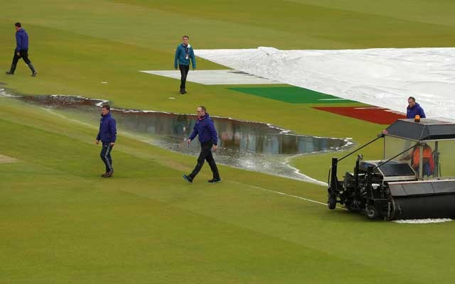 Cricket - ICC Cricket World Cup Semi Final - India v New Zealand - Old Trafford, Manchester, Britain - July 9, 2019 General view of water on the field during break in play due to rain Action Images via Reuters