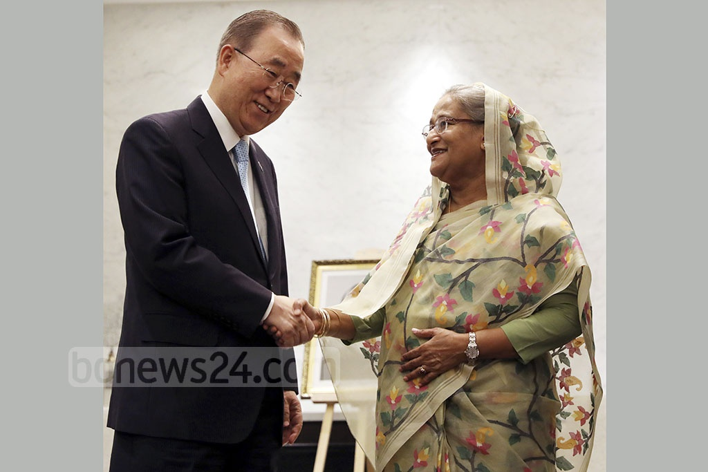 Former UN secretary general and Global Commission on Adaptation Chairman Ban Ki-moon met Prime Minister Sheikh Hasina on the sidelines of the commission's Dhaka Meeting at the InterContinental Hotel in the capital on Wednesday. Photo: Saiful Islam Kallol