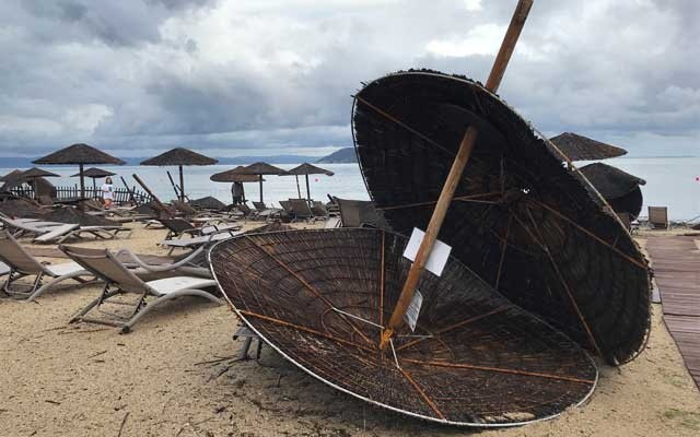Damages at the beach at a hotel in Porto Carras, Halkidki, Greece Jul 11, 2019 after severe weather hit Greece. REUTERS