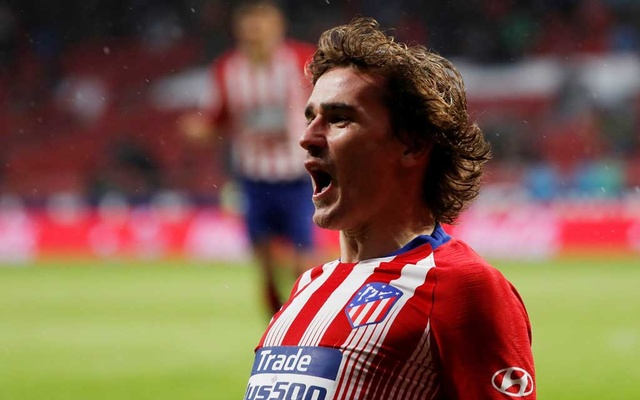 FILE PHOTO: Football - La Liga Santander - Atletico Madrid v Valencia - Wanda Metropolitano, Madrid, Spain - April 24, 2019. Atletico Madrid's Antoine Griezmann celebrates scoring their second goal. Reuters