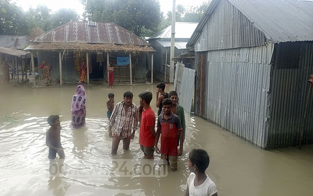 Many parts in Bogura went under water on Saturday as the Jamuna river began to swell over the past few days.