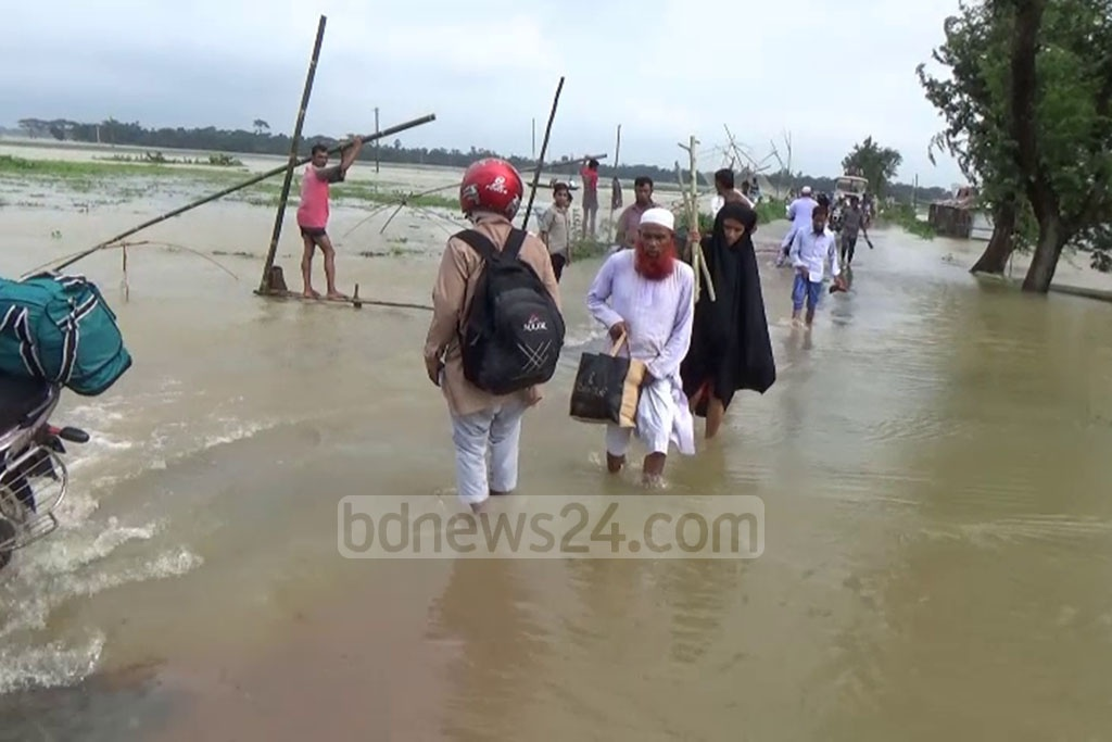 Many people got stranded in the Haor areas of Netrokona as many parts in the district have already been affected by flash flood.