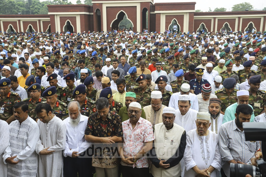 The first namaz-e-janaza for Ershad is held at the Army Central Mosque in Dhaka on Sunday after Zohr prayers. Photo: Asif Mahmud Ove