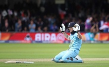 Cricket - ICC Cricket World Cup Final - New Zealand v England - Lord's, London, Britain - July 14, 2019 England's Ben Stokes reacts after a six Action Images via Reuters