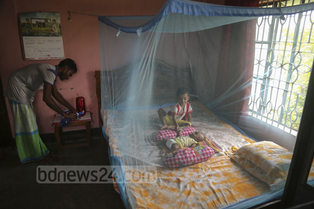 Flooding at Newazbagh in Dhaka's Nandipara has given a rise to mosquito attacs as well, stoking the fear of mosquito-borne diseases like dengue. Residents of the area are using mosquito nets even
