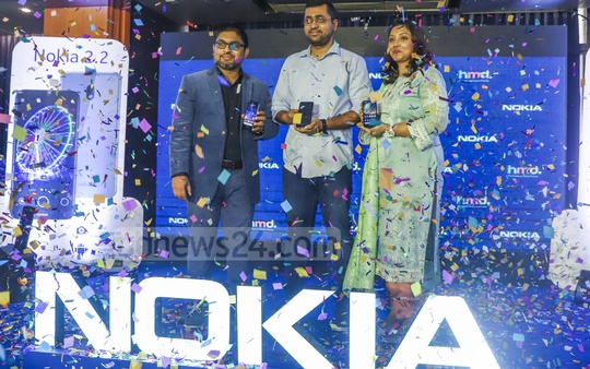 Nokia launching two new smartphones for the Bangladeshi market at a hotel in Dhaka on Tuesday.