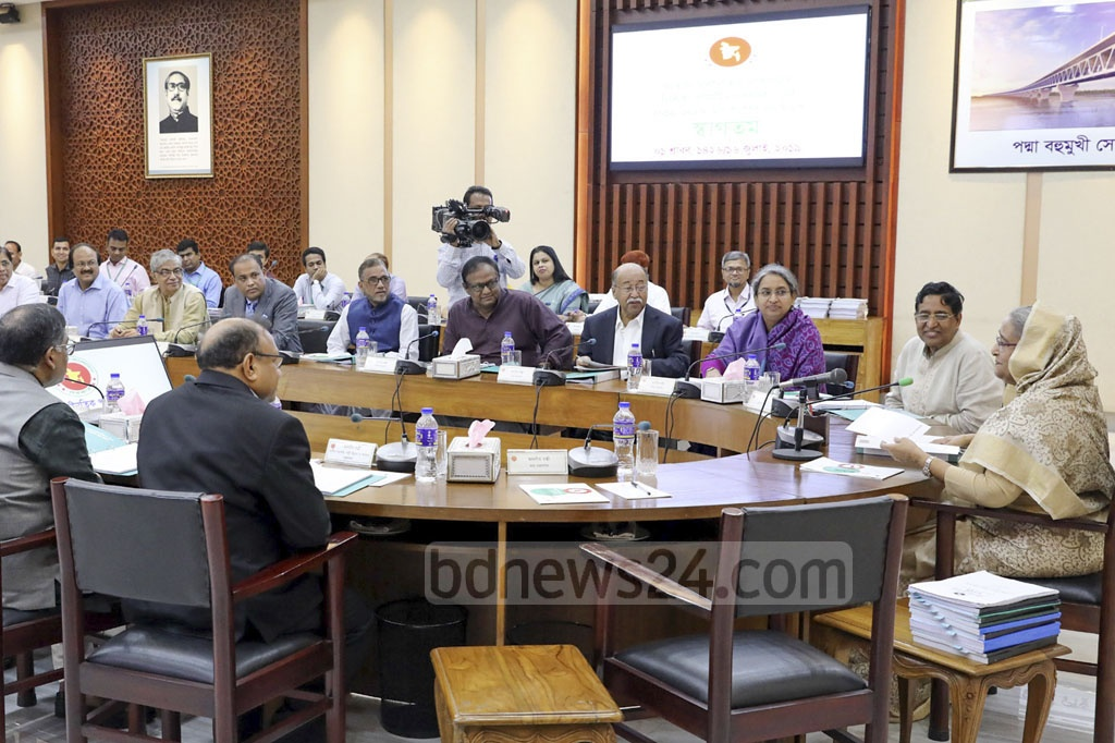 Prime Minister Sheikh Hasina chairing the Ecnec conference at the NEC Auditorium in Dhaka's Sher-e-Bangla Nagar on Tuesday. Photo: Saiful Islam Kallol